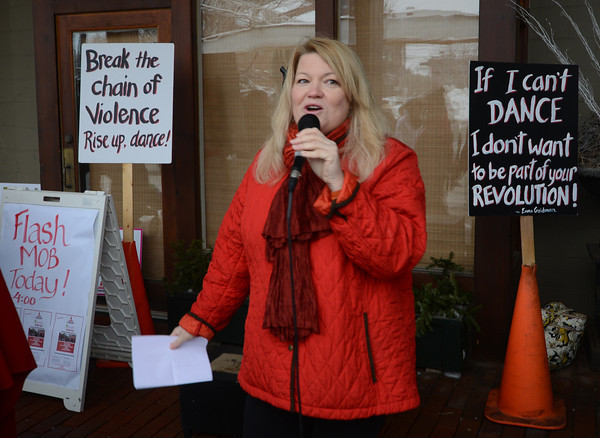 Newburyport: Suzanne Dubus of the Jeanne Geiger Crisis Center kicks off the One Billion Rising for Justice Flash Mob at the Tannery Saturday afternoon. Jim Vaiknoras/staff photo
