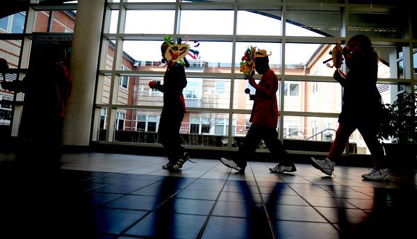 Salisbury:Salisbury Elementery School kindergateners march in the annual Chinese New Year parade through the halls of the school Friday afternoon. Jim Vaiknoras/staff photo