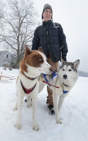 Merrimac: Todd Campbell with his huskies Herbie and Laika had no problem with the snow at the Lake Attitach Winterfest Saturday in Merrimac. Jim Vaiknoras/staff photo