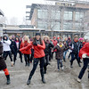 Newburyport: Dancer didn't let the snow bother them as they participate in the One Billion Rising for Justice Flash Mob at the Tannery Saturday afternoon. Jim Vaiknoras/staff photo