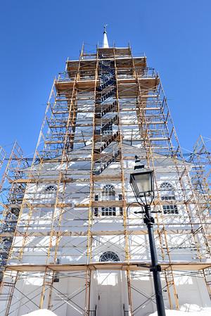 BRYAN EATON/Staff Photo. The scaffolding is still in place at the Unitarian Universalist Church on Pleasant Street in Newburyport.
