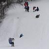 JIM VAIKNORAS/Staff photo Sledder enjoy the snow on Marches Hill in Newburyport Saturday.