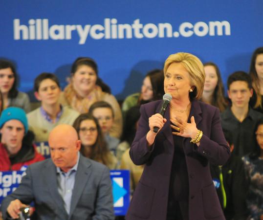 JIM VAIKNORAS/Staff photo Presidential candidate Hillary Clinton greets the crowd at Winnacunett High School in Hampton.