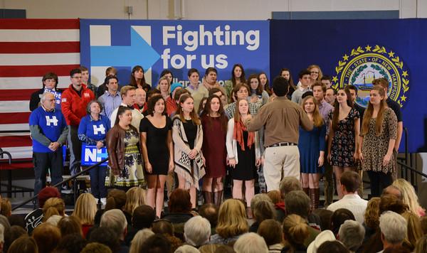 JIM VAIKNORAS/Staff photo The Winnacunett Community Choir sings the National Anthem at an event for   Presidential candidate Hillary Clinton at Winnacunett High School in Hampton.