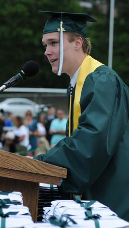 JIM VAIKNORAS/Staff photo Class President Trevor Tomas speaks at Pentucket's Graduation Saturday.