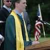 JIM VAIKNORAS/Staff photo Class Treasurer Jesss  Hileman give the Invocation at Pentucket's Graduation Saturday.
