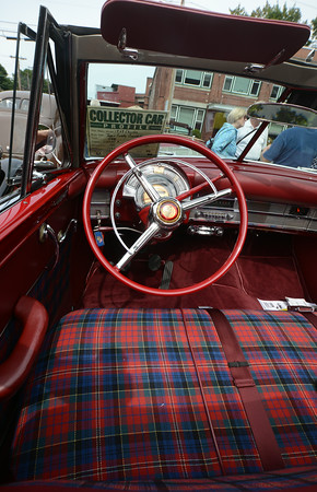 JIM VAIKNORAS/Staff photo Intieror of a 1949 Chrysler Town and Country Convertable, one of the many cars at the Amesbury antique car show on Chestnut Street in Amesbury Saturday.