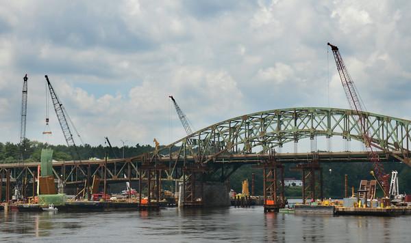 JIM VAIKNORAS/Staff photo Work continues on the Whittier Bridge in Amesbury