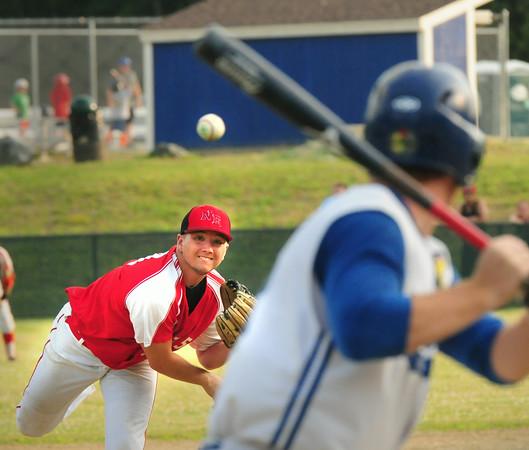 BRYAN EATON/ Staff Photo. Legion Post 150 pitcher Ryan Kuchar hurls against a Methuen player.