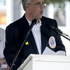 JIM VAIKNORAS/Staff photo  Michael Volpone, Yankee Homecoming 2014 General Chair speaks at Opening Ceremonies on the Mall in Newburyport Sunday.