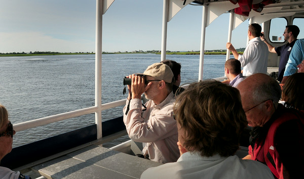 BRYAN EATON/ Staff Photo. People check out the marsh along Plum Island Turnpike from near Woodbridge Island in the Merrimack River.