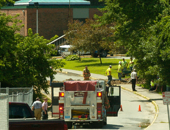 BRYAN EATON/Staff Photo. A gas leak was detected at Pentucket Middle School yesterday that forced the evacuation of neighbors and temporarily closing the school's summer camp. The leak was repaired in a couple of hours.