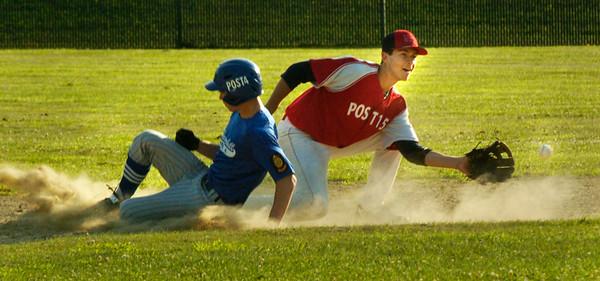 BRYAN EATON/ Staff Photo. Haverhill's Kevin Regan steals second before Legion Post's Rosario Missiti gets the throw.