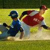 BRYAN EATON/ Staff Photo. Haverhill's Kevin Regan steals second before Legion Post's Rosario Missiti gets the throw.