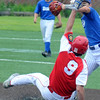 JIM VAIKNORAS/Staff photo Newburyport's Cameron Toohey is out at second as Haverhill's Brandon Thibeault turns a double place during their game at Haverhill Stadium Saturday.