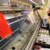 BRYAN EATON/Staff Photo. The fish counter at the south Seabrook Market Basket was half full on Sunday and yesterday it was empty.