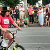 BRYAN EATON/ Staff Photo. Newburyport Mayor Donna Holaday circles the course as she wins the final heat in the celebrity part of the Slow Bike Race.