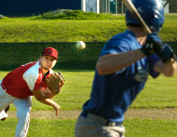 BRYAN EATON/ Staff Photo. Post 150 pitcher Ryan Kuchar throws to Haverhill's Kevin Regan.