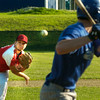 BRYAN EATON/ Staff Photo. Post 150 pitcher Ryan Kuchar throws to Haverhill's Kevin Regan.