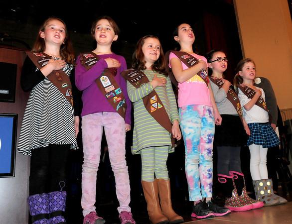 "Newburyport: Girls from Brownie Troop 75336 lead a filled Newburyport City Hall auditorium in the ""Pledge of Allegiance."" Bryan Eaton/Staff Photo"