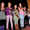 "Newburyport: Girls from Brownie Troop 75336 lead a filled Newburyport City Hall auditorium in the ""Pledge of Allegiance."" Bryan Eaton/Staff Photo"