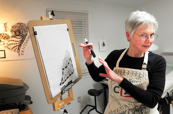 Salisbury: Donna Scott of Salisbury leads a class in Zentagle at her studio on Beach Road. Bryan Eaton/Staff Photo