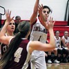 Amesbury: Amesbury's Madison Napoli finds an open teammate in action with Newburyport. Bryan Eaton/Staff Photo