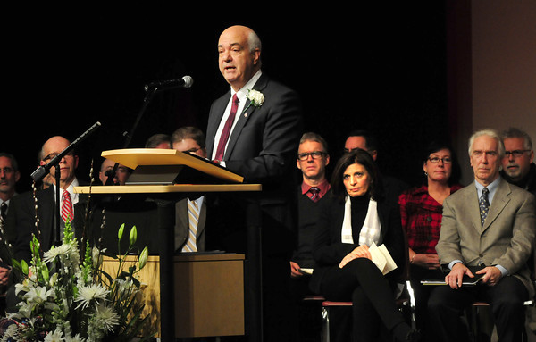 Amesbury: Amesbury's new mayor Ken Gray gives his Inaugural Address last night at Amesbury High School after he and other elected officials were sworn in. Bryan Eaton/Staff Photo