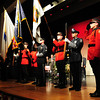 """Amesbury: Members of the Amesbury police and fire departments posted the colors for the """"Pledge of Allegiance"""" led by Amesbury Middle School students Tomasina Glenn and Hanna Mawclary. Bryan Eaton/Staff Photo"""