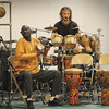 Newbury: Percussionists Massamba Diop, left, and Tony Vacca perform for students at Newbury Elementary School on Wednesday along with Senegalese dancer Abdou Sarr. They also held workshops with students throughout the day as well as playing two performances. Bryan Eaton/Staff Photo