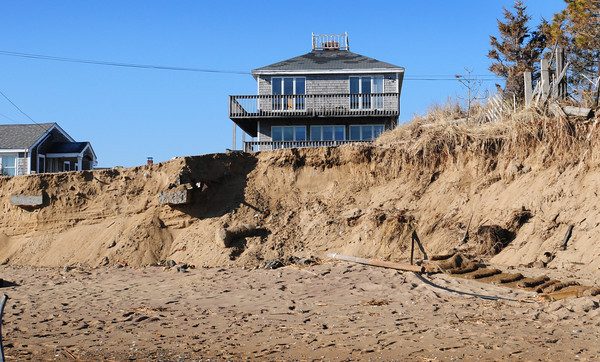 Newbury: This house that was at 29 Annapolis Way on Plum Island was moved across the street back in October. The home likely would have been lost or damaged in the storm earlier this month as there were no protective boulders in front of the structure, but there were in front of other homes on either side. Bryan Eaton/Staff Photo