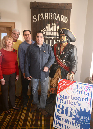 Newburyport: Owners of the Starboard Gally in Newburyport, Donna, Gene, Gary and David Creco. The popular eatery is celebrating 36 years in business. Jim Vaiknoras/staff photo