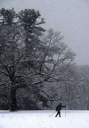 Newburyport: A cros country skier glides across newly falled snow at Maudslay State Park in Newburyport Saturday. Jim Vaiknoras/staff photo