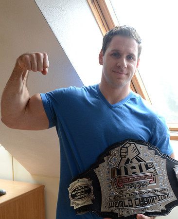 Newburyport: World champion arm-wrestler Rob Vigeant<br />  at his Newburyport home. Jim Vaiknoras/staff photo