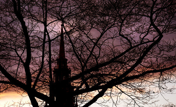 Newburyport: The sun sets behind the First Religious Society steeple this past weekend. Jim Vaiknoras/staff photo