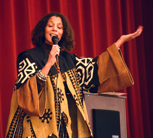 newburyport: Storyteller Valerie Tutman sings an African folk song at the Martin Luther King Jr Dinner at Newburyport City Hall Monday night. Jim Vaiknoras/staff photo