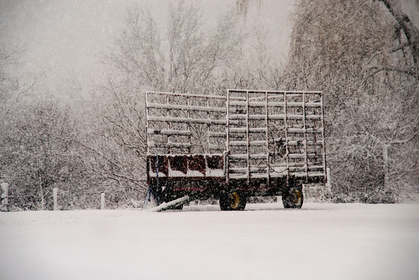Amesbury: A hay wagon at Woodsom Farm in Amesbury fills with snow saturday. Jim Vaiknoras/staff photo