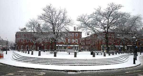 Newburyport: Market Square in Newburyport gets a surprise coating of white Saturday afternoon. Jim Vaiknoras/staff photo
