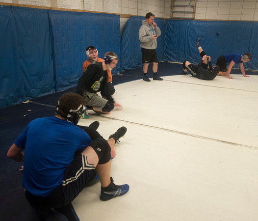 Byfield: Triton High wrestling coach Shawn McElligott at the teams practice Thursday. Jim Vaiknoras/staff photo