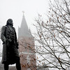 Amesbury: The Holy Family Church in Amesbury fades in the fog behind the  statue of Amesbury native and signer of the Declaration of Independance Josiah Bartlett. Jim Vaiknoras/staff photo