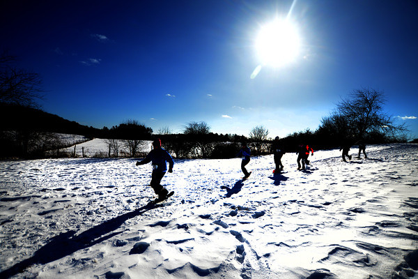 Amesbury: A snowshoers take off  Amesbury Sunday morning in the cold on Woodsom Farm in Amesbury at the first Amesbury Police Chase Snowshoe Fun Race. JIm Vaiknoras/staff photo