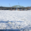 Amesbury: The Merrimack River between the Hines Bridge and the Whittier Bridge is nearly completely covered in broken ice. Jim Vaiknoras/staff photo