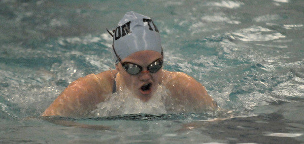 JIM VAIKNORAS/Staff photo Triton's Jennifer Nutter during the meet against Lynnfield swim met at YWCA in Newburyport.