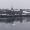 JIM VAIKNORAS/Staff photo Snow falls on the Newburyport skyline late Friday afternoon.