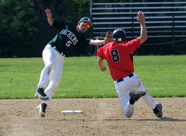 West Newbury: Pentucket's Jordan Silva tags out North Andover's Branden Walsh as he attempt to steal 2nd during their game at Pentucket Friday. Jim Vaiknoras/Staff photo<br /> , West Newbury: Pentucket's Jordan Silva tags out North Andover's Branden Walsh as he attempt to steal 2nd during their game at Pentucket Friday. Jim Vaiknoras/Staff photo