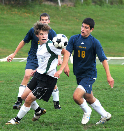 West Newbury:Pentucket's Dan Greene fight for the ball with Lynnfield's Connor Dorio at Pentucket High in West Newbury.<br /> Photo by Jim Vaiknoras/Newburyport Daily News Thursday, October 02, 2008<br /> , West Newbury:Pentucket's Dan Greene fight for the ball with Lynnfield's Connor Dorio at Pentucket High in West Newbury.<br /> Photo by Jim Vaiknoras/Newburyport Daily News Thursday, October 02, 2008