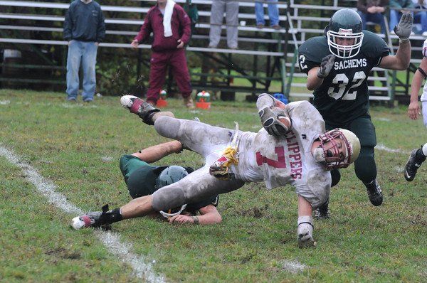 West Newbury: Newburyport's Kyle LeBlanc is tackled during the Clippers 3-2 lose to Pentucket Saturday in West Newbury. Jim Vaiknoras/Staff photo