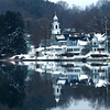 Amesbury:A snow covered Union Congregational Church is reflected off the still water in the Merrimack River Sunday morning.<br /> Photo by Jim Vaiknoras/Newburyport Daily News Sunday, December 23, 2007