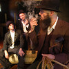 "Newburyport: <br /> From the left: Dylan Fuller as Estragon, Chris Curtis as Vladimir and smoking the pipe is Damon Jespersen as Pozzo in the Thearer in the Open production of ""Waiting for Godot""<br /> Photo by Jim Vaiknoras/Newburyport Daily News. Saturday, September 3, 2005"