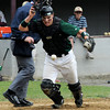 Newburyport:Pentucket catcher  Peter Creamer makes a play for the ball vs Newburyport Saturday at the Lower Field.<br /> Photo by Jim Vaiknoras/Newburyport Daily News Saturday, May 17, 2008